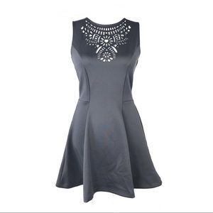 H&M 8 dress laser cut gray fit & flare sleeveless